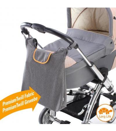 DIAGO Kinderwagentasche DELUXE grau-orange (30052.75276)